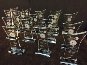2015 Aurealis Awards trophies